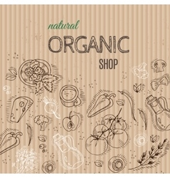 Organic shop concept with vegetables on cardboard vector image