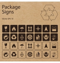 Package symbols on craft paper background vector