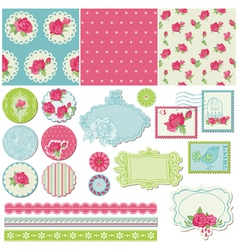 Scrapbook design elements - rose flowers vector