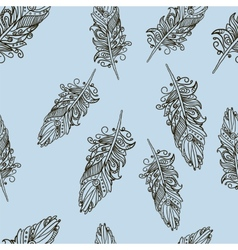 Seamless pattern with Doodle feathers vector image