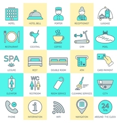 Set of hotel icons line hotel service logo vector