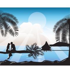 Summer beach view card vector