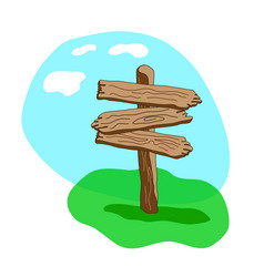 Three arrow shapes cartoon wooden signpost vector