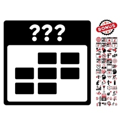 Unknown month calendar grid flat icon with vector