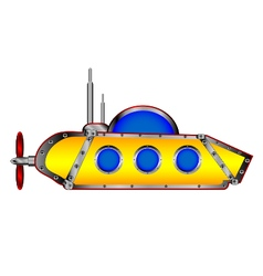Yellow submarine on white vector image