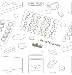 Pills and Capsules Icons Set pattern vector image