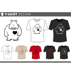 t shirt with teddy in love vector image