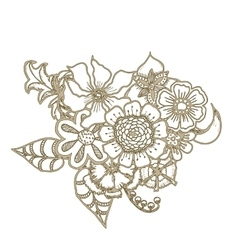 Ornate floral drawing with flowers Doodle sharpie vector image