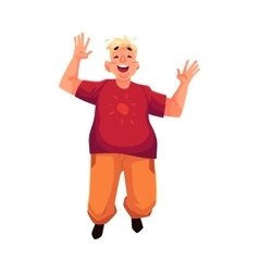 Young happy fat man in casual clothing jumping vector