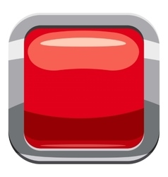 Red square button icon cartoon style vector