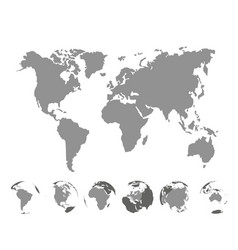 world map with continents on white background vector image