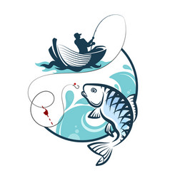 Fisherman fishing from a boat vector