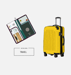Baggage travels trip to world sketch vector