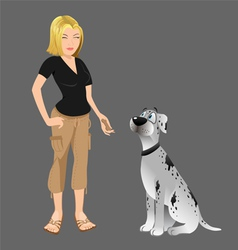 Dog owner giving treat vector