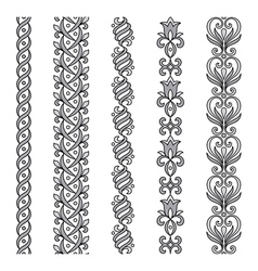 Seamless ornamental borders in grayscale vector image