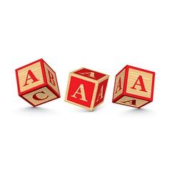 letter A wooden alphabet blocks vector image