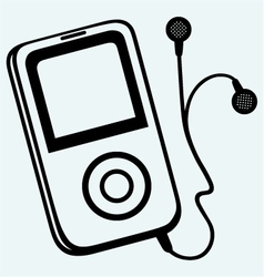 Mp3 player with earphones vector