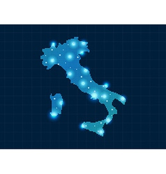 Pixel italy map with spot lights vector