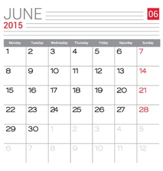2015 June calendar page vector image
