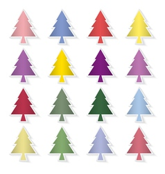 Set of colorful pine trees vector