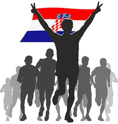 Athlete with the croatia flag at the finish vector