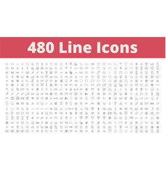 480 line icons vector image