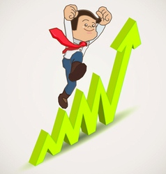 Happy businessman jump over growing chart vector