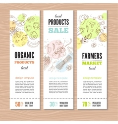 Set of banners with organic vegetables vector