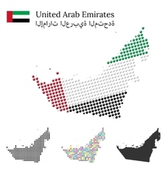 United arab emirated flag and maps vector