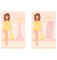 Beautiful fashion women shopping in france and vector