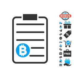 Bitcoin price list icon with free bonus vector