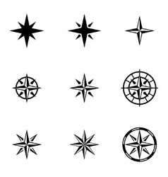 black wind rose icon set vector image