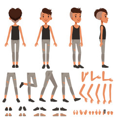 boy character creation set student boy vector image