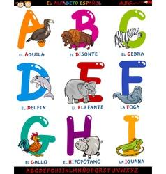 cartoon spanish alphabet with animals vector image vector image