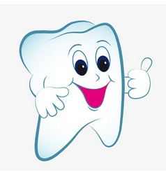 Cartoon tooth vector with thumb vector