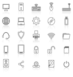 Computer line icons with reflect on white vector