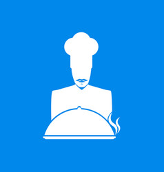 Cook mustachioed chef with a dish icon vector