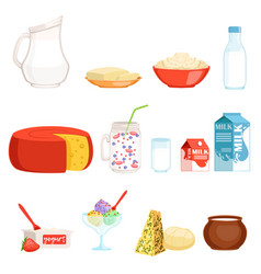 Dairy products set milk butter cheese yogurt vector