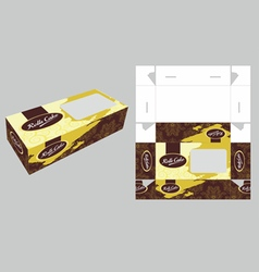 Elegant rolls cake box vector