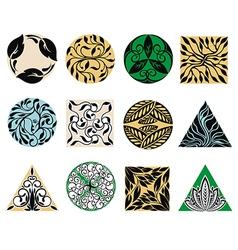Floral emblems vector image vector image