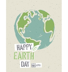 Happy earth day poster earth on the recycled paper vector