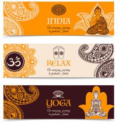 India culture 3 horizontal banners set vector