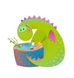 Kids vegetarian baby dragon eating cooking fun vector