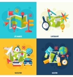 Navigation and location flat icon set vector