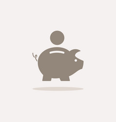 Piggy bank icon with shadow on a beige background vector