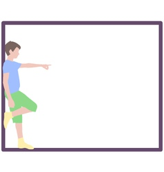 pointing boy at frame vector image