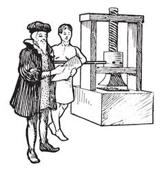 Printing press vintage vector