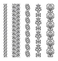 Seamless ornamental borders in grayscale vector