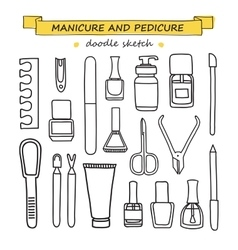 set of manicure and pedicure doodle vector image