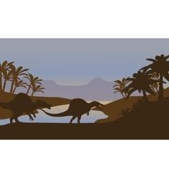 Silhouette of dinosaur in lake vector